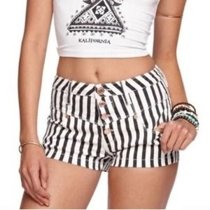 Kendall and Kylie Vertical Stripe High Rise Shorts